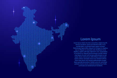 India map country abstract silhouette from wavy blue space sinusoid lines and glowing stars. Contour state of creative luminescence curve. Vector illustration.