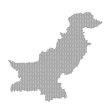 Pakistan map country abstract silhouette of wavy black repeating lines. Contour of sinusoid curve. Vector illustration.