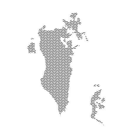 Bahrain map country abstract silhouette of wavy black repeating lines. Contour of sinusoid curve. Vector illustration.  イラスト・ベクター素材