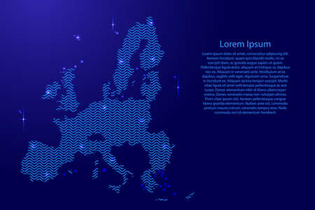 European Union map country abstract silhouette from wavy blue space sinusoid lines and glowing stars. Contour state of creative luminescence curve. Vector illustration. Иллюстрация