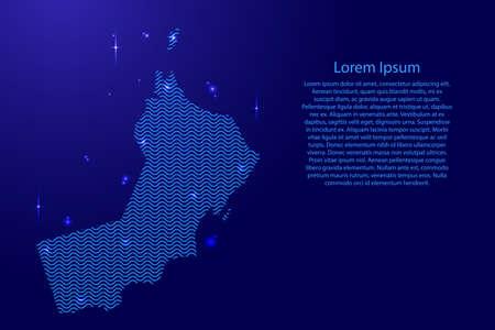 Oman carte pays silhouette abstraite des lignes sinusoïdales de l'espace bleu ondulé et des étoiles brillantes. État du contour de la courbe de luminescence créative. Illustration vectorielle.