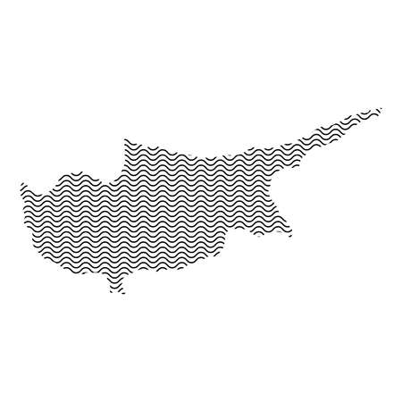 Cyprus map country abstract silhouette of wavy black repeating lines. Contour of sinusoid curve. Vector illustration.