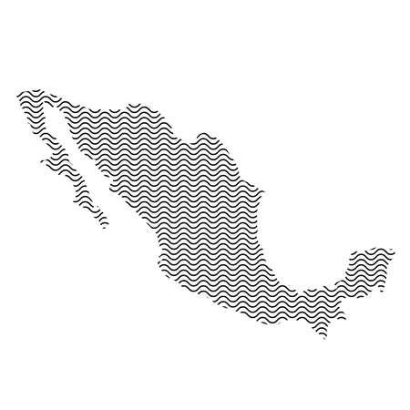 Mexique carte pays silhouette abstraite de lignes répétitives noires ondulées. Contour de la courbe sinusoïdale. Illustration vectorielle.