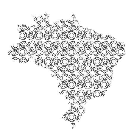 Brazil map country abstract silhouette from industrial gears drive. Black repeating pattern. Vector illustration.