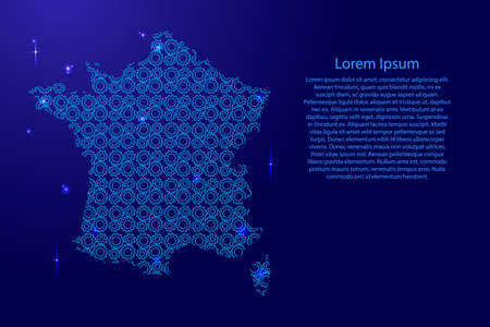 France map country abstract silhouette from  blue space gears drive and glowing stars. Repeating creative luminescence pattern. Vector illustration.