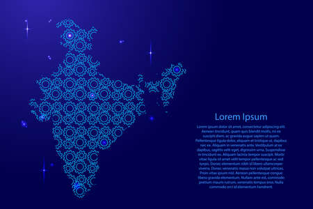India map country abstract silhouette from  blue space gears drive and glowing stars. Repeating creative luminescence pattern. Vector illustration.