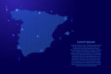 Espagne carte pays silhouette abstraite des lignes sinusoïdales de l'espace bleu ondulé et des étoiles brillantes. État du contour de la courbe de luminescence créative. Illustration vectorielle. Vecteurs