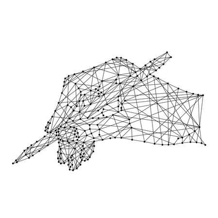 Mano che tiene una penna su sfondo bianco da linee e punti neri poligonali. Illustrazione vettoriale.