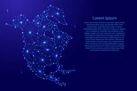 North America map of polygonal futuristic mosaic lines network, rays and space stars for banner, poster, greeting card, of vector illustration.
