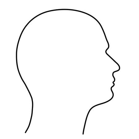 Ludzka głowa człowieka, zarys czarnych linii na białym tle. Ilustracja wektorowa.