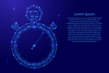 Stopwatch schematic picture from futuristic polygonal blue lines and glowing stars for banner, poster, greeting card. Vector illustration.