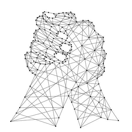 Abstract depiction of a fraternal handshake or arm wrestling of two hands from futuristic polygonal black lines and dots. Vector illustration.