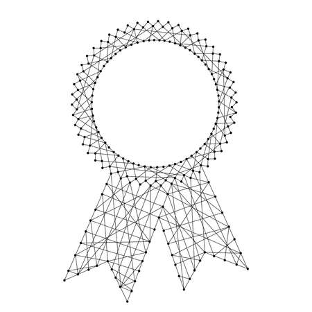 Abstract seal certificate award with ribbons from futuristic polygonal black lines and dots. Vector illustration. Vettoriali
