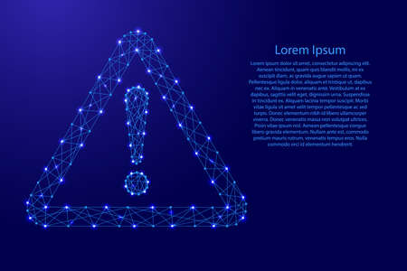 Danger sign exclamation point in triangle from futuristic polygonal blue lines and glowing stars for banner, poster, greeting card. Vector illustration. Illustration