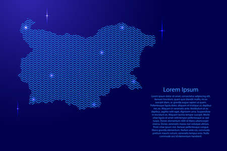 Bulgaria map country abstract silhouette from wavy blue space sinusoid lines and glowing stars. Contour state of creative luminescence curve. Vector illustration.