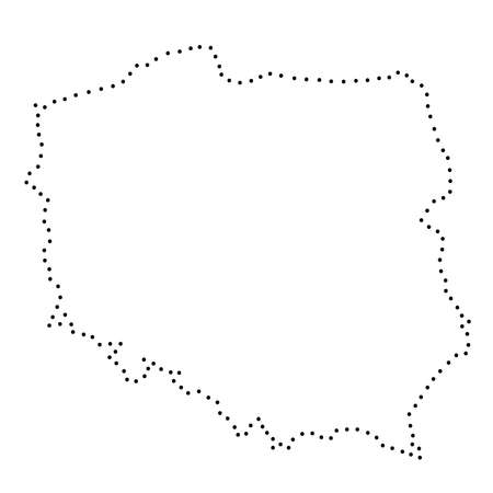 Poland abstract schematic map from the black dots along the perimeter. Vector illustration.