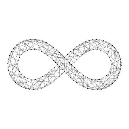 Infinity sign from futuristic polygonal black lines and dots. Vector illustration. Ilustração