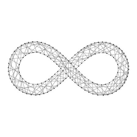 Infinity sign from futuristic polygonal black lines and dots. Vector illustration. Illustration
