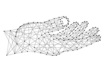 Main ou demander un geste de soutien à partir de lignes et de points noirs polygonaux futuristes. Illustration vectorielle. Vecteurs