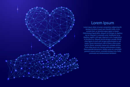 Sign of love heart supported by hand palm from futuristic polygonal blue lines and glowing stars for banner, poster, greeting card. Vector illustration. Иллюстрация