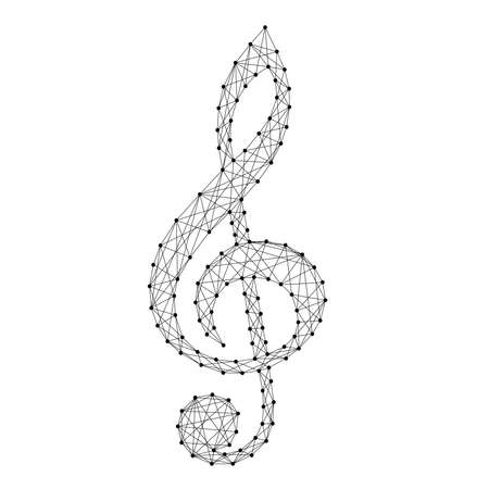 Treble clef music symbol from abstract futuristic polygonal black lines and dots. Vector illustration.