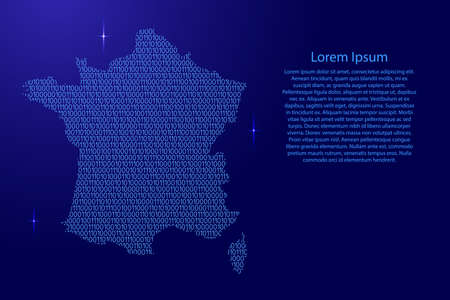 France map abstract schematic from blue ones and zeros binary digital code with space stars for banner, poster, greeting card. Vector illustration.