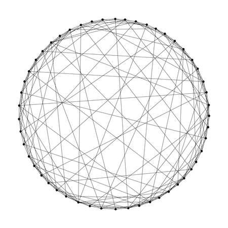 Sfera wireframe da linee e punti neri poligonali futuristici astratti. Illustrazione vettoriale. Vettoriali