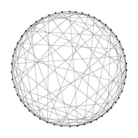Wireframe sphere from abstract futuristic polygonal black lines and dots. Vector illustration.
