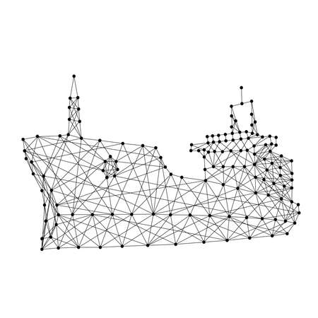 Ship dry cargo vessel from abstract futuristic polygonal black lines and dots. Vector illustration.