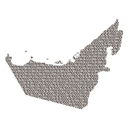 United Arab Emirates map abstract schematic from black ones and zeros binary digital code. Vector illustration.