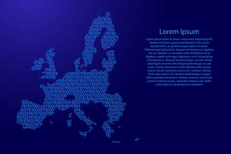 European Union map abstract schematic from blue ones and zeros binary digital code for banner, poster, greeting card. Vector illustration.