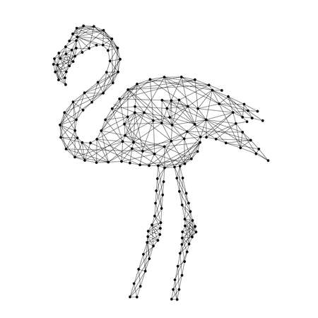 Flamingo standing from abstract futuristic polygonal black lines and dots. Vector illustration.  イラスト・ベクター素材