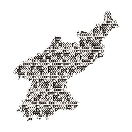 North Korea map abstract schematic from black ones and zeros binary digital code. Vector illustration.  イラスト・ベクター素材