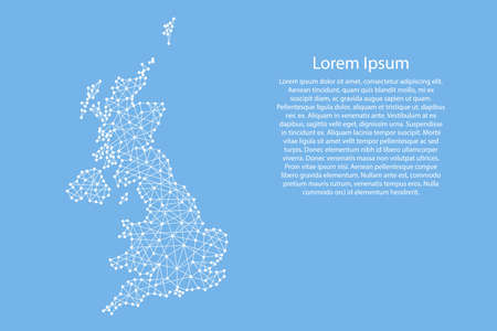 United Kingdom map from abstract futuristic polygonal white lines and dots on blue background for banner, poster, greeting card. Vector illustration. Stock Illustratie