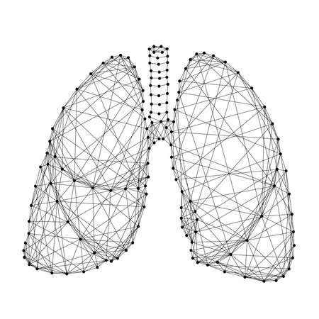 Lungs human organ of respiration from abstract futuristic polygonal black lines and dots. Vector illustration. Illusztráció