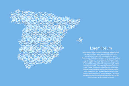 Spain map abstract schematic from white ones and zeros binary digital code on light blue background for banner, poster, greeting card. Vector illustration.