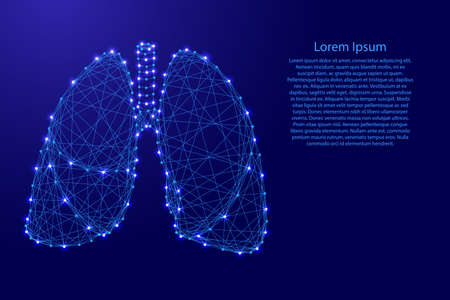 Lungs human organ of respiration from futuristic polygonal blue lines and glowing stars for banner, poster, greeting card. Vector illustration. Иллюстрация