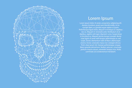 Skull human from abstract futuristic polygonal white lines and dots on blue background for banner, poster, greeting card. Vector illustration.