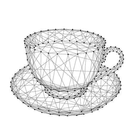 Cup mug with coffee or tea on a saucer from abstract futuristic polygonal black lines and dots. Vector illustration.