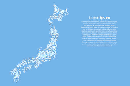 Japan map abstract schematic from white ones and zeros binary digital code on light blue background for banner, poster, greeting card. Vector illustration. Иллюстрация