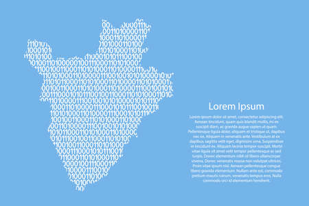 Burundi map abstract schematic from white ones and zeros binary digital code on light blue background for banner, poster, greeting card. Vector illustration.