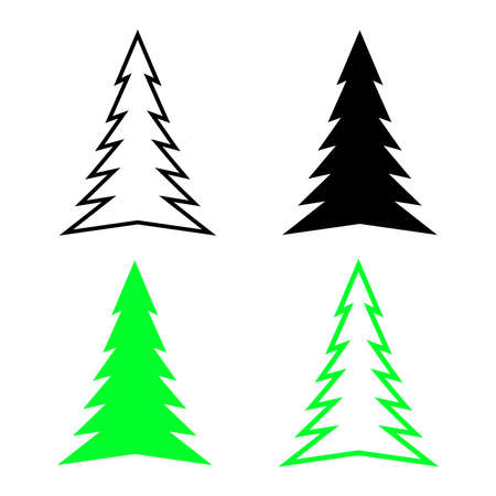 Christmas tree and Happy New Year decoration set icon of black and green. Vector illustration.