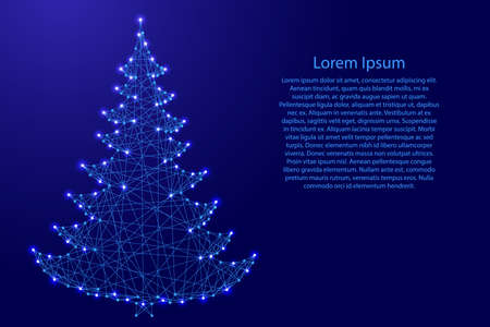 Christmas tree and Happy New Year decoration from futuristic polygonal blue lines and glowing stars for banner, poster, greeting card. Vector illustration.
