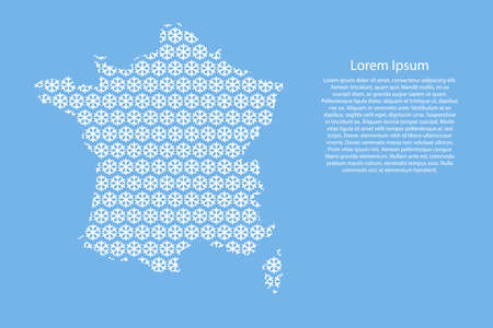 France map abstract schematic from white snowflakes pattern decoration Christmas and Happy New Year on light-blue background for banner, poster, greeting card. Vector illustration.