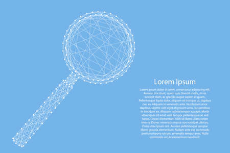 Magnifying glass lens from abstract futuristic polygonal white lines and dots on blue background for banner, poster, greeting card. Vector illustration.