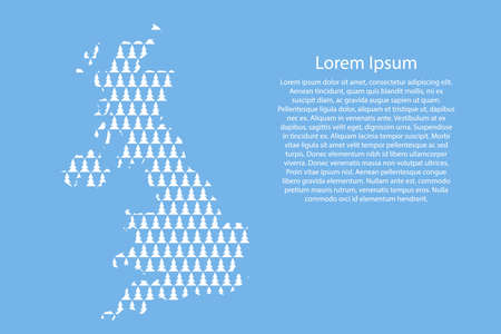 United Kingdom map abstract schematic from white Christmas tree and Happy New Year decoration pattern on light blue background for banner, poster, greeting card. Vector illustration.