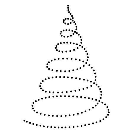 Christmas tree in the form of a twisted spiral abstract schematic from the black dots along the perimeter. Vector illustration.