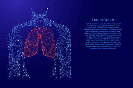 Man torso lungs anatomic organ inside medicine health respiratory system from futuristic polygonal blue lines and glowing stars for banner, poster, greeting card. Vector illustration.