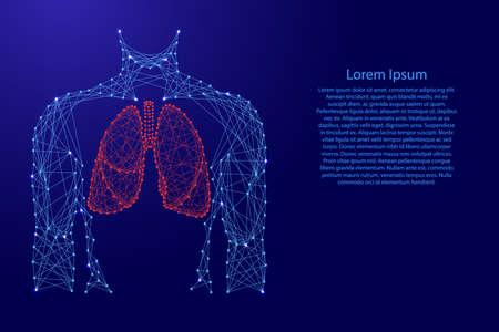 Uomo torso polmoni organo anatomico all'interno del sistema respiratorio di salute della medicina da futuristiche linee blu poligonali e stelle incandescenti per banner, poster, biglietti di auguri. Illustrazione vettoriale. Vettoriali