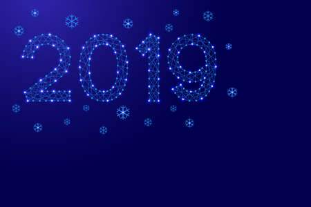 2019 date number New Year holiday with snowflakes from futuristic polygonal blue lines and glowing stars for banner, poster, greeting card. Vector illustration. Illustration
